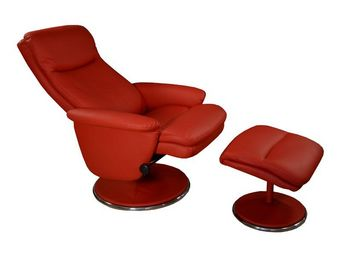 WHITE LABEL - fauteuil de relaxation simili cuir rouge - niagara - Fauteuil De Relaxation