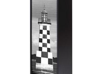WHITE LABEL - classeur à rideaux noir - curtain n°3 - l 38 x l 3 - Armoire À Rideaux