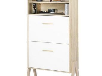 WHITE LABEL - meuble à chaussures à rideau - arkos n°5 - l 80 x - Meuble À Chaussures