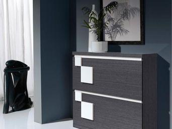 WHITE LABEL - meuble à chaussures cendre/blanc - squadra n°1 - l - Meuble À Chaussures
