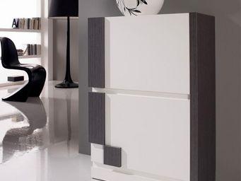 WHITE LABEL - meuble à chaussures blanc/cendre - louba - l 60 x - Meuble À Chaussures
