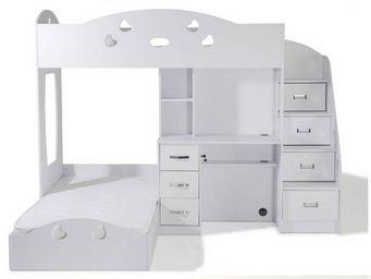 WHITE LABEL - lit mezzanine combi blanc espace bureau intégré - Lit Mezzanine Enfant