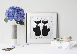 la Magie dans l'Image - print art amoures de renards - Estampe