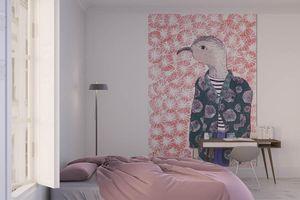 la Magie dans l'Image - grande fresque murale mon petit oiseau fond rose - Papier Peint Panoramique