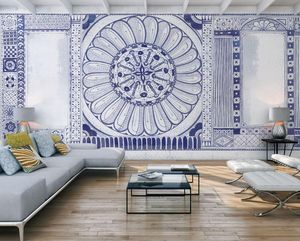 IN CREATION - india bleu - Papier Peint Panoramique
