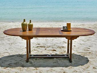 BOIS DESSUS BOIS DESSOUS - table de jardin en bois de teck huilé bali 8/10 pl - Table De Jardin À Rallonges