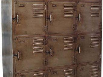 Antic Line Creations - vestiaire d'atelier en fer 12 portes - Vestiaire