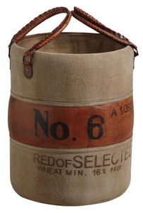Aubry-Gaspard - rangement vintage en cuir et coton - Panier À Linge