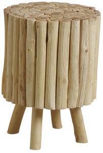 Aubry-Gaspard - tabouret rond en bois avec pieds - Tabouret