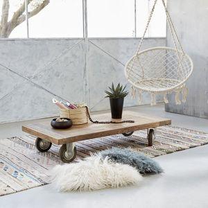 BOIS DESSUS BOIS DESSOUS - table basse en bois de teck recyclé 120 cargo - Table Basse Carrée