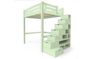 ABC MEUBLES - abc meubles - lit mezzanine alpage bois + escalier cube hauteur réglable vert pastel 140x200 - Lit Mezzanine