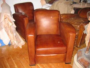 Fauteuil Club.com - paire de fauteuil carré art déco - Fauteuil Club