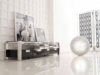 ACHATDESIGN.COM - meuble tv design noir laqu� goldine - Meuble De Salon Living