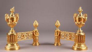 Galerie Atena - feux en bronze doré - Chenets