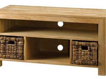 MEUBLES ZAGO - meuble télé teck 2 paniers abaca absolue - Meuble Tv Hi Fi
