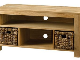 MEUBLES ZAGO - meuble t�l� teck 2 paniers abaca absolue - Meuble Tv Hi Fi