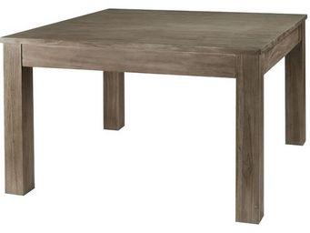 MEUBLES ZAGO - table repas carrée teck grisé 120 cm + allonge co - Table De Repas Carrée