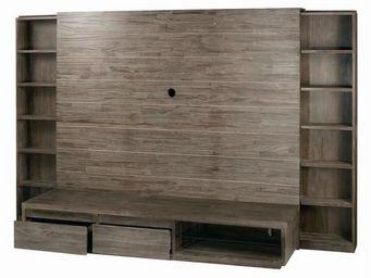 MEUBLES ZAGO - meuble tv teck grisé cosmos - Meuble De Salon Living