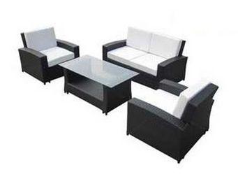UsiRama.com - ecochic meuble salon en résine tressée noir - Salon De Jardin