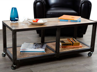 Miliboo - atelier table basse 2 casiers - Table Basse � Roulettes