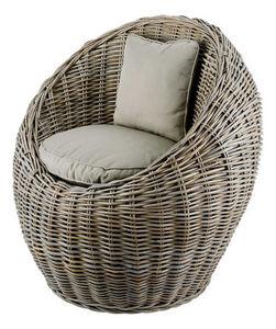 INWOOD - fauteuil boule en rotin de bananier 78x72x78cm - Fauteuil De Terrasse