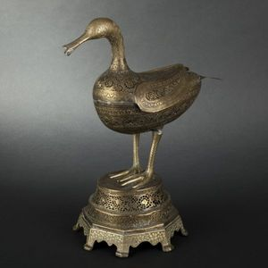 Expertissim - brûle-parfum zoomorphe en laiton. iran, début xxe  - Sculpture Animalière