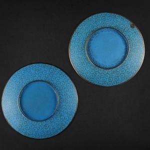 Expertissim - deux coupes en bronze et émaux cloisonné à décor d - Assiette Creuse