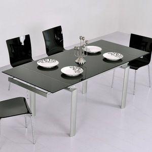 Smart Boutique Design - table en verre noire à rallonge extensible java - Table De Repas Rectangulaire