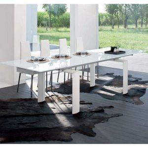 Smart Boutique Design - table de salle à manger à rallonges pieds blancs  - Table De Repas Rectangulaire