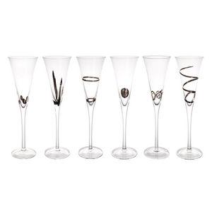 Maisons du monde - coffret 6 flûtes graphique argent - Flûte À Champagne