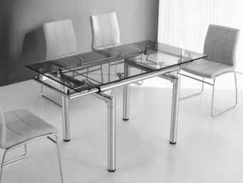 CLEAR SEAT - table en verre a rallonge extensible 145/100 x 75  - Table De Repas Rectangulaire