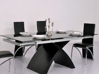 CLEAR SEAT - table en verre noire à rallonge extensible xures - Table À Rallonge