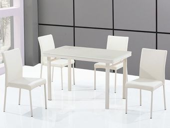 CLEAR SEAT - ensemble table en verre rectangle et ses 4 chaises - Table De Repas Rectangulaire