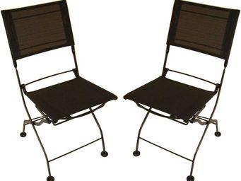 MEDICIS FRANCE - chaises pliantes noir en fer forgé et textilène (p - Chaise De Jardin