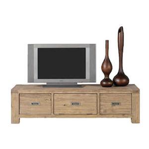 INWOOD - meuble télé nevada en acacia avec 2 tiroirs 1 port - Meuble Tv Hi Fi