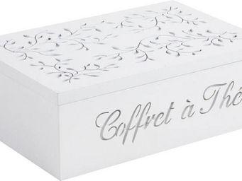 BARCLER - coffret � th� en bois blanc 6 compartiments 24,5x1 - Boite De Rangement