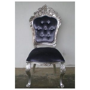 DECO PRIVE - chaise baroque argente et velours gris carved - Chaise