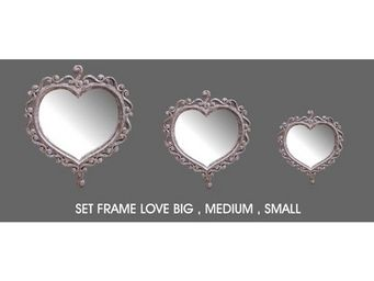 DECO PRIVE - miroir coeur en bois ceruse - Miroir