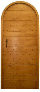 Portes Anciennes - mod�le lames crois�es tilleul plein cintre - Porte De Communication Pleine