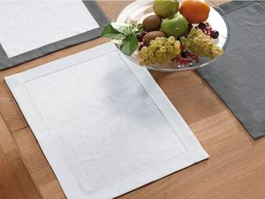 BLANC CERISE - lot de 2 sets de table blanc - lin déperlant - uni - Set De Table