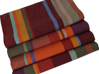 Les Toiles Du Soleil - serviette de table colioure rouge - Serviette De Table