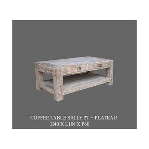 DECO PRIVE - table basse sally cerusee 100 x 60 cm - - Table Basse Rectangulaire