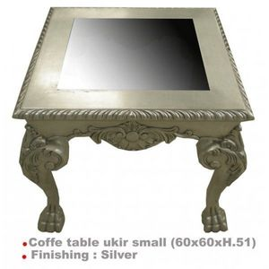 DECO PRIVE - table basse baroque argentee 60 x 60 cm ukir - Table Basse Carrée