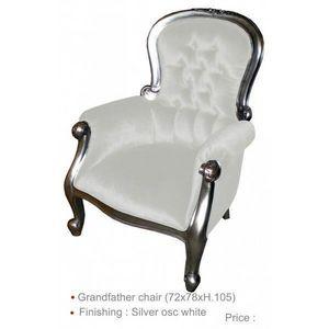 DECO PRIVE - fauteuil en bois argente et imitation cuir blanc - Fauteuil