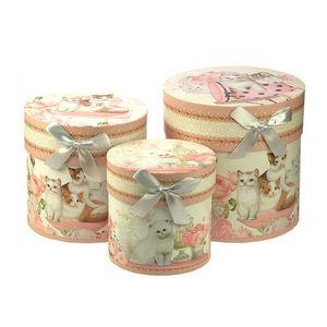 WHITE LABEL - 3 boîtes hautes adorable minou avec noud en satin - Boite De Rangement