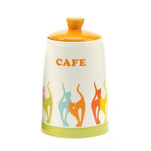 WHITE LABEL - pot de cuisine en grès collection chats version ca - Boîte À Café