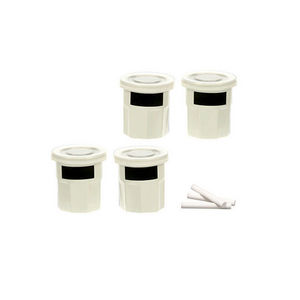 WHITE LABEL - 4 pots � �pices en gr�s avec �tiquette en ardoise - Pot � �pices