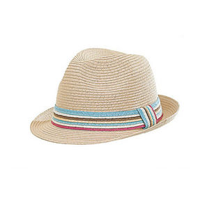 WHITE LABEL - chapeau trilby mixte paille pliable naturel galon - Chapeau