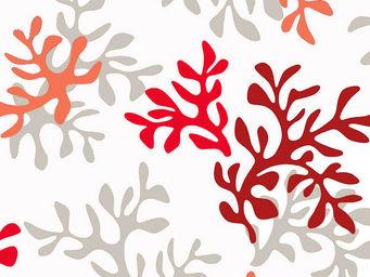 FLEUR DE SOLEIL - tissu corail rouge 160x160 - Tissu D'ameublement