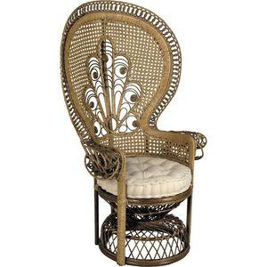 Aubry-Gaspard - fauteuil en rotin teinté marron emmanuelle 105x74x - Fauteuil De Jardin